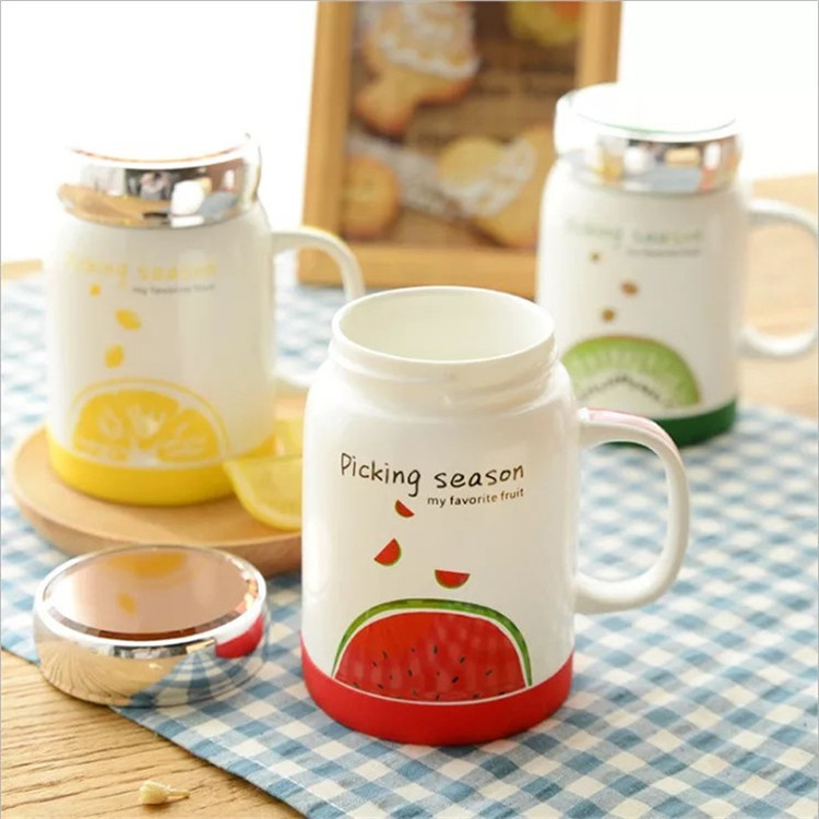 Two-piece silicone bottom ceramic fruit cup creative mug cute cartoon High temperature resistance