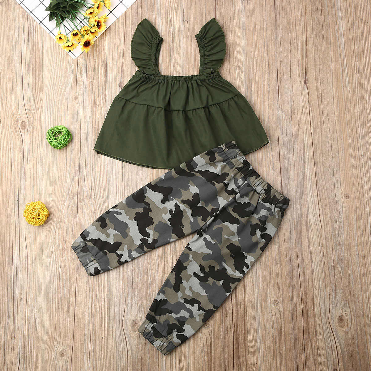 Tabpole 2PCS Toddler Kids Baby Girl Camouflage Shirt+Pants Clothes Outfits Set Tracksuit