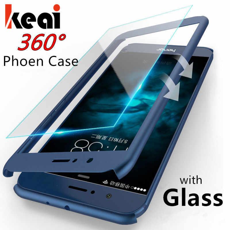 360 กรณีป้องกันสำหรับ Huawei P สมาร์ท 2019 Honor 8 9 10 Lite V10 8X7 7A Pro สำหรับ Huawei Nova 3 2i 3E Lite แก้ว