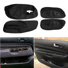 Sadece 3 kapılar araba ön kapı kolu kol dayama paneli mikrofiber deri kılıf koruyucu Trim VW Golf 4 için MK4 Jetta 1998  2005