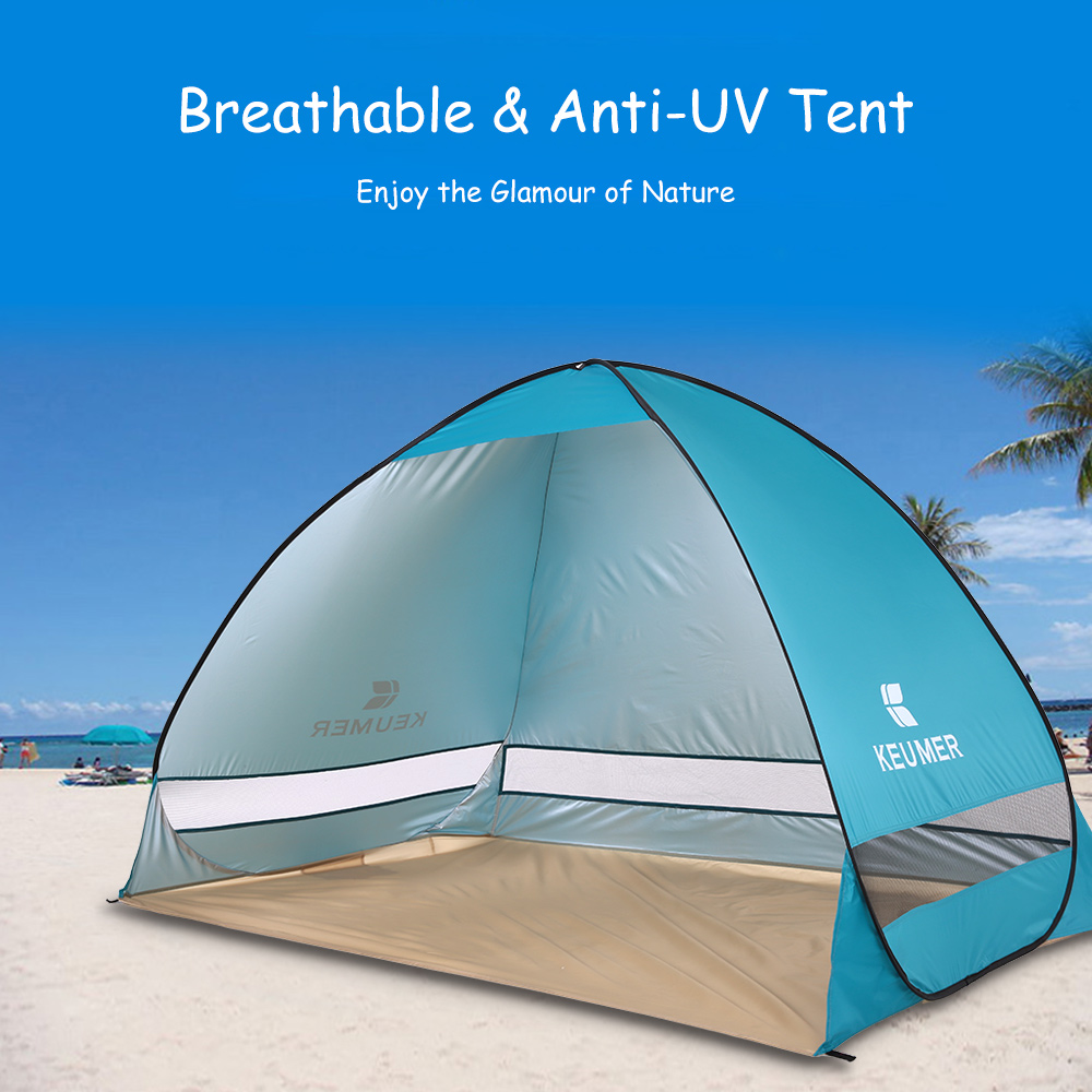 KEUMER Automatic Beach Tent 2 Persons Camping Tent UV Protection Shelter Outdoor Tent Instant Pop-up Summer Tent 200*120*130cm