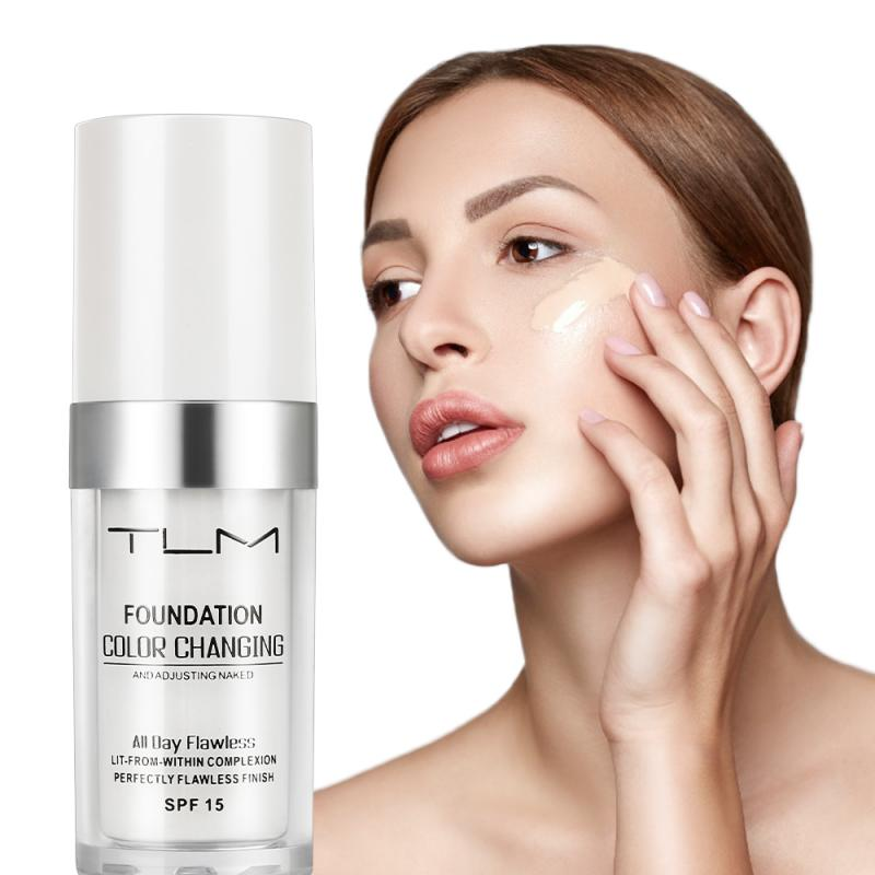 1 Pcs TLM Magic Color Changing Foundation Oil-control Makeup Liquid Foundation Hydrating Lasting Concealer Cream Drop Ship TSLM1