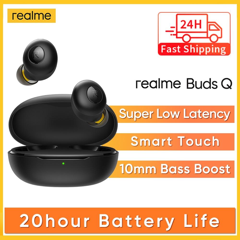 Original realme Knospen Q TWS Drahtlose Kopfhörer In-ohr Kopfhörer Touch Control 20 Stunden Batterie Bluetooth 5,0 IP5 Wasser beständig