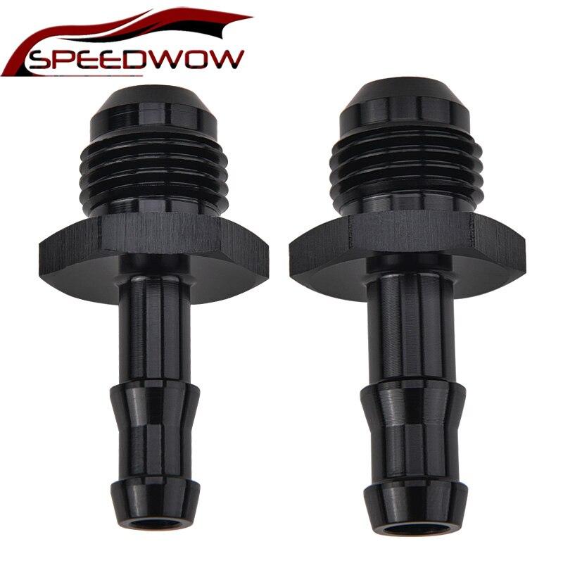 Speedwow 6an flare para 5/16 adaptador de conector de tubo de combustível de farpa mangueira de alumínio push in crossbar tubo conector 6an flare a 3/8