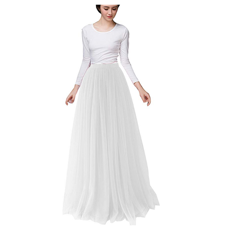 Elegant Ladies Floor Length 5-layer Slim Tulle Skirt 100cm Long Fluffy Pleated Skirt Ballet Banquet Wedding A-line Long Skirt