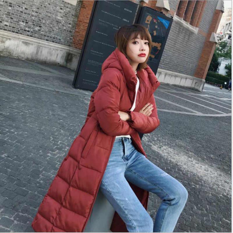 KMVEXO 2019 החורף מוצק נקבה Parka בתוספת גודל M-6xl אופנה למטה מעיל ארוך הסווטשרט למטה עבה ארוך מעיל נשים בגדים