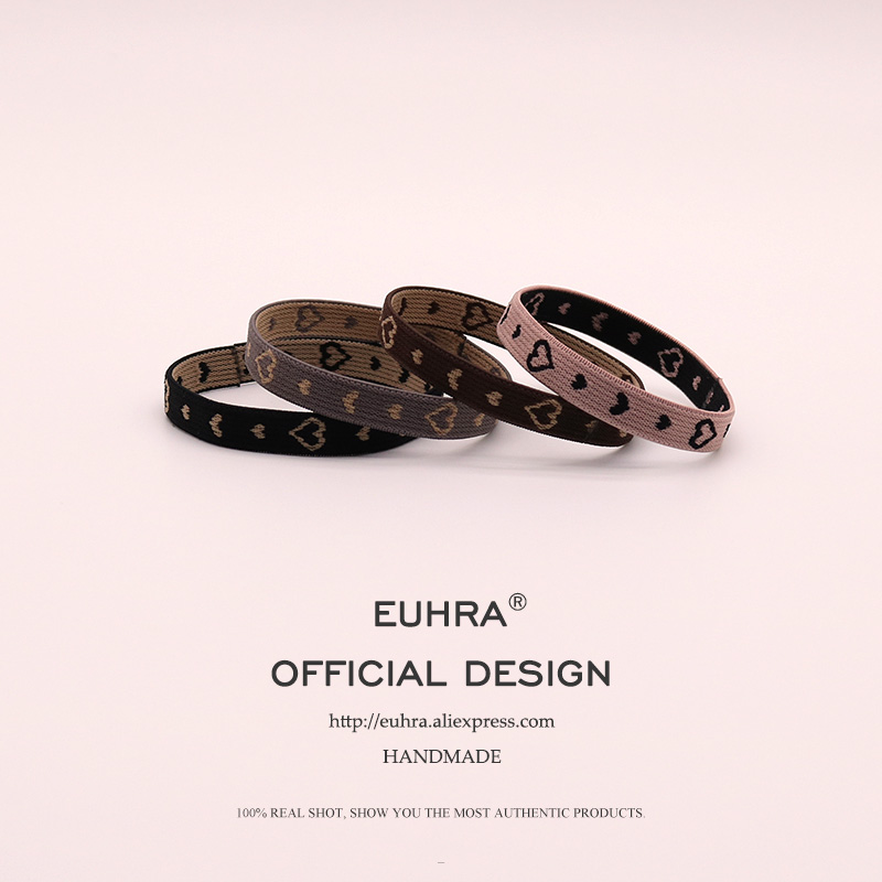 EUHRA 4 Colors Small Love Heart Amor Elastic Hair Bands For Women Girls Hairband Children Accessories