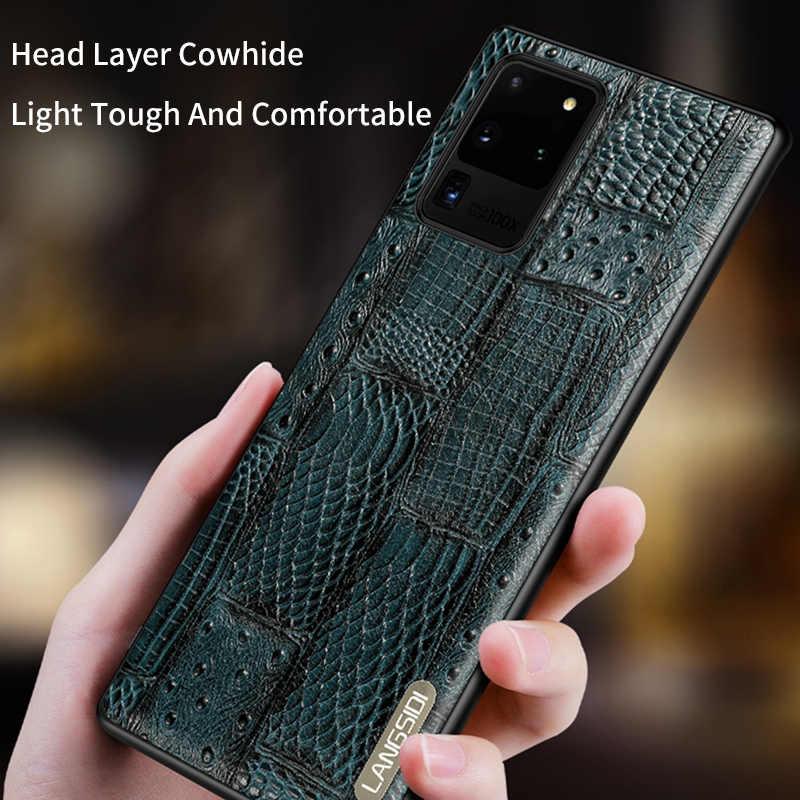 Retro Splice Echt Lederen Telefoon Geval Voor Samsung Galaxy S20 Ultra S8 S9 S10 S20 Plus A51 A50 A70 A71 a40 Note 10 9 A8 Cover