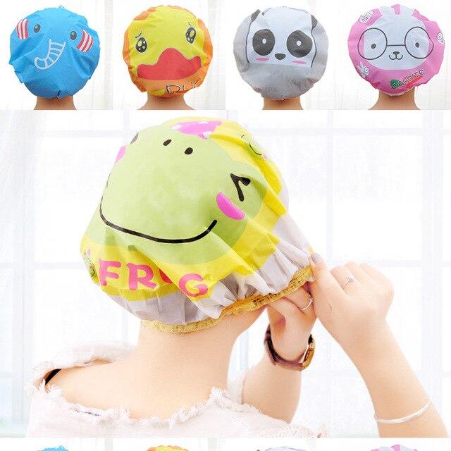 Joli bonnet de douche de dessin animé pour adulte | Bonnet de douche imperméable en PVC pour femme, chapeau de douche multicolore en option, vente en gros