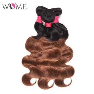 Image 3 - WOME Pre colored Brazilian Body Wave Hair Bundles Ombre Human Hair Bundle Honey Blonde 1b/27 1b/30 Two Tone Sew in Non remy Hair