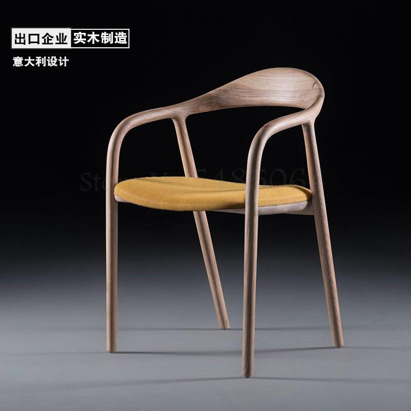 Designer Chair Back Nordic Solid Wood Modern Minimalist Hiroshima President Kennedy Chair Dining Chair New Chinese Style Circle