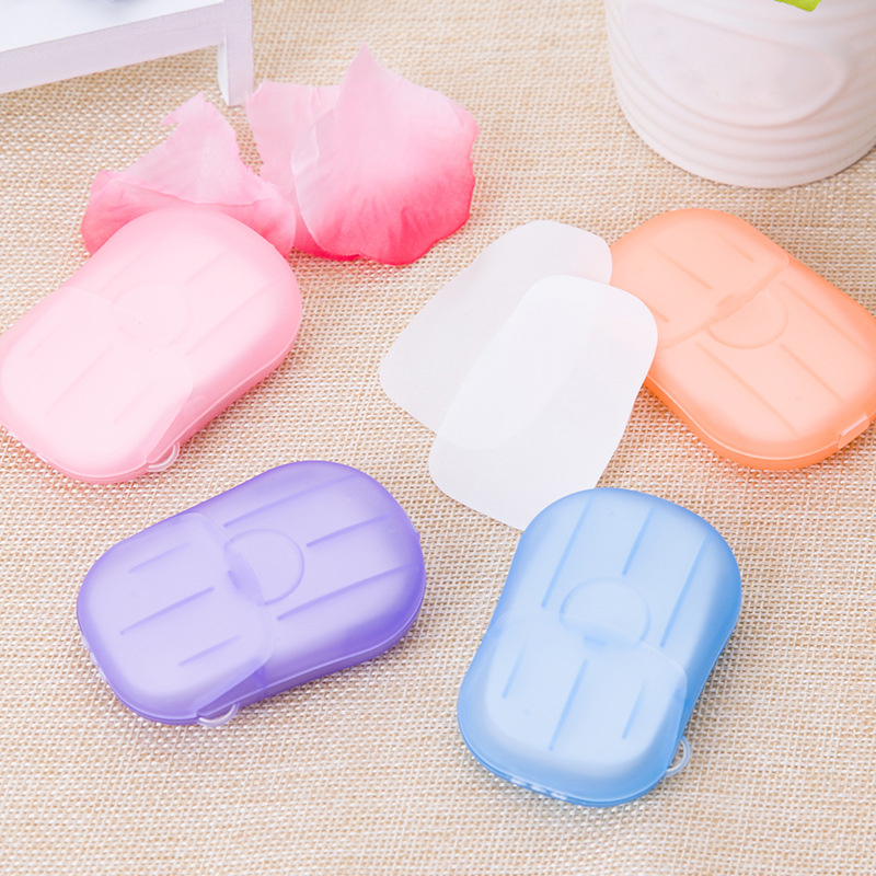 20pcs Portable Travel Convenient Disposable Boxed Soap Paper  Scented Slice Sheets Hand Washing Box Mini Bath Soap Paper