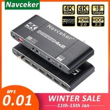 2020 HDMI Matrix 4x2 4K @ 60Hz HDR Schalter Splitter 4 in 2 out YUV 4:4:4 optische SPDIF + 3,5mm jack Audio Extractor HDMI Switcher
