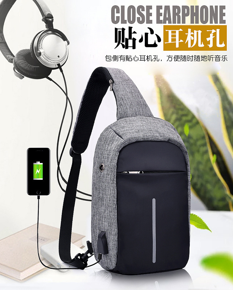 New Style Headphone Jack Anti-Theft Chest Pack Upgraded Fashion Computer Bag College Style