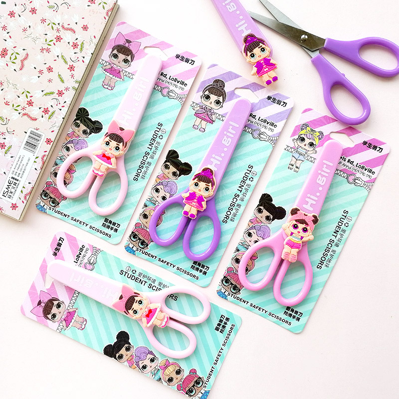 Cartoon Surprise Lovely Baby Student Safety Paper-cut Art Scissors Girl Doll With Protective Cover Cap Kids School Stationery