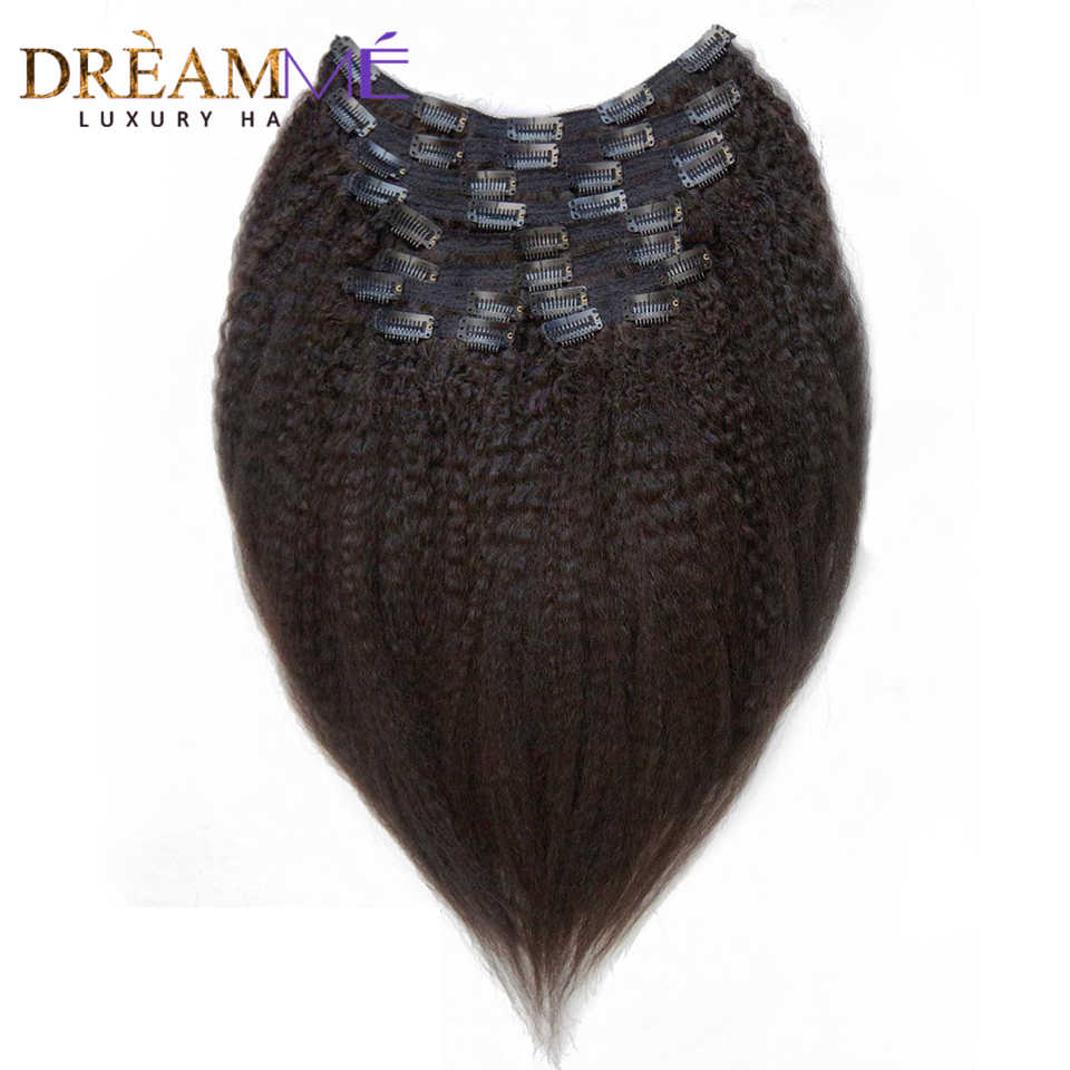 Dream Me Kinky Straight Clips In Natuurlijke Braziliaanse Human Hair Extensions 120G 8 Stks/set Grof Yaki Clip Ins Machine gemaakt Remy