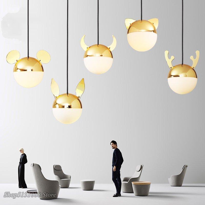 modern cartoon LED pendant lights Nordic Simple creative single head glass pendant lamp bedroom bedside home decor light fixture|Pendant Lights| |  - title=
