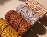 DIY cord-3mm colorful braided solid core cotton rope for macrame bag craft decoration plant pot hanger