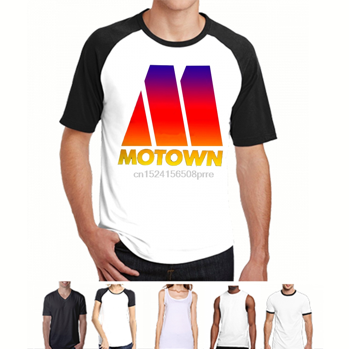 100% Cotton O-neck Custom Printed Men T shirt MOTOWN DISCO RECORDS Women T-Shirt
