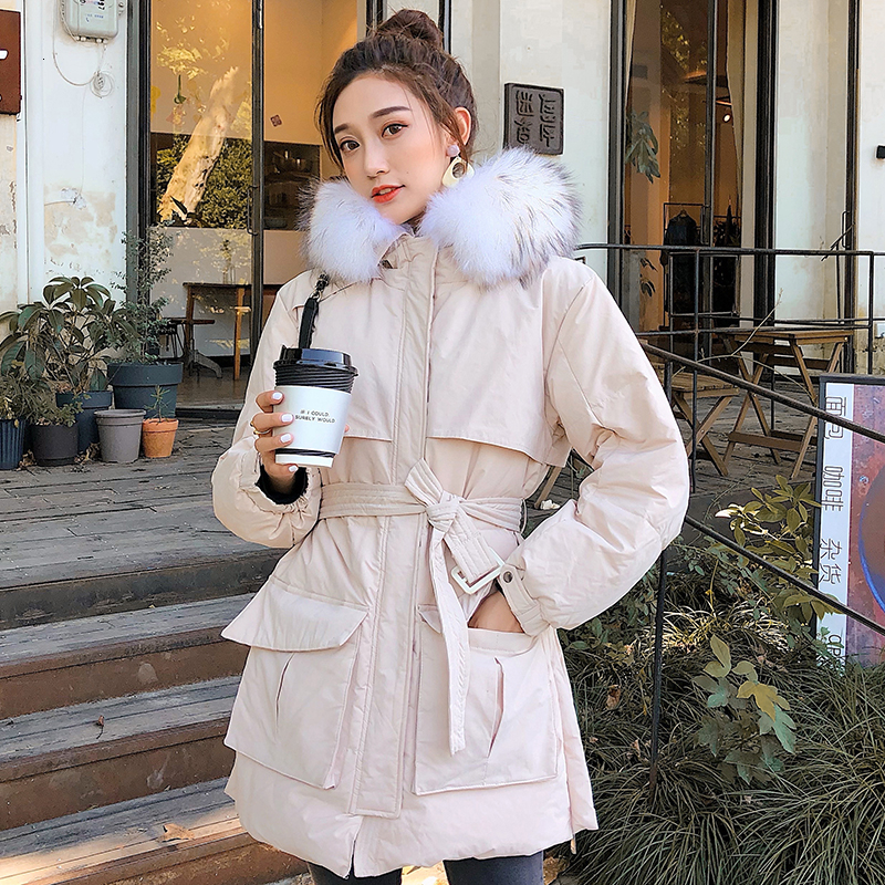 Winter   Coat   White Duck   Down   Jackets Women Large Natural Raccoon Fur Hooded   Coats   Korean Style Parkas Thicken Snow Outwear Hat