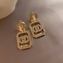 Rhinestone Flash-Earrings Fashion Jewelry Long-Retro Circle LATS Women for Brincos Gold/silver-Color