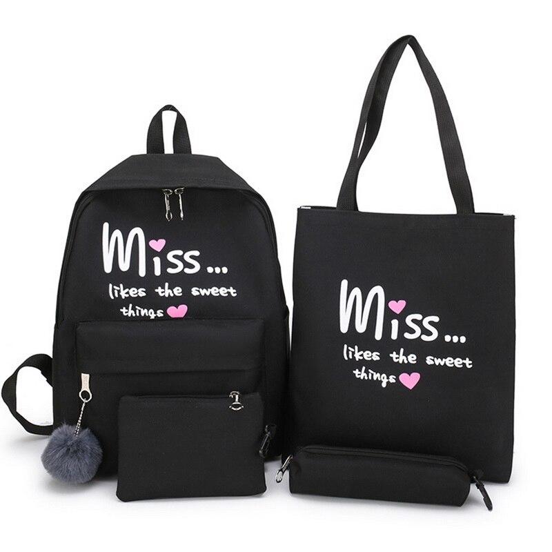 Litthing 4 Pcs/set Girl School Bag For Teenager Solid Backpack College Schoolbag Women High Student Bag  Backpack Dropshipping