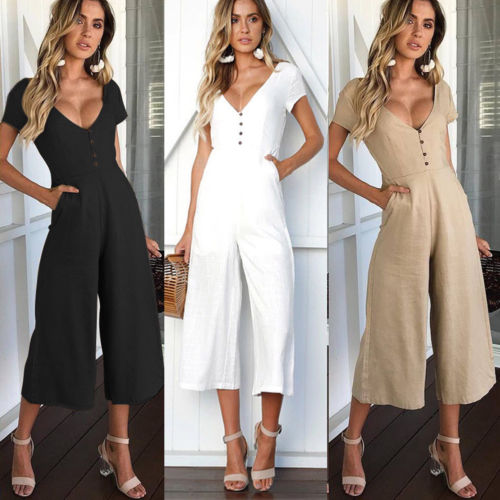 2020 Casual Women's Summer Button V-Neck Short Sleeve Jumpsuit Solid Clubwear Wide Leg Playsuit Long Pant