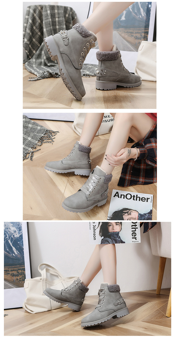 Size 43 women winter boots 2019 New Arrival Fashion Suede Women Snow Boots Metal rivet Warm Plush Women's Ankle Boots Flat shoes 40