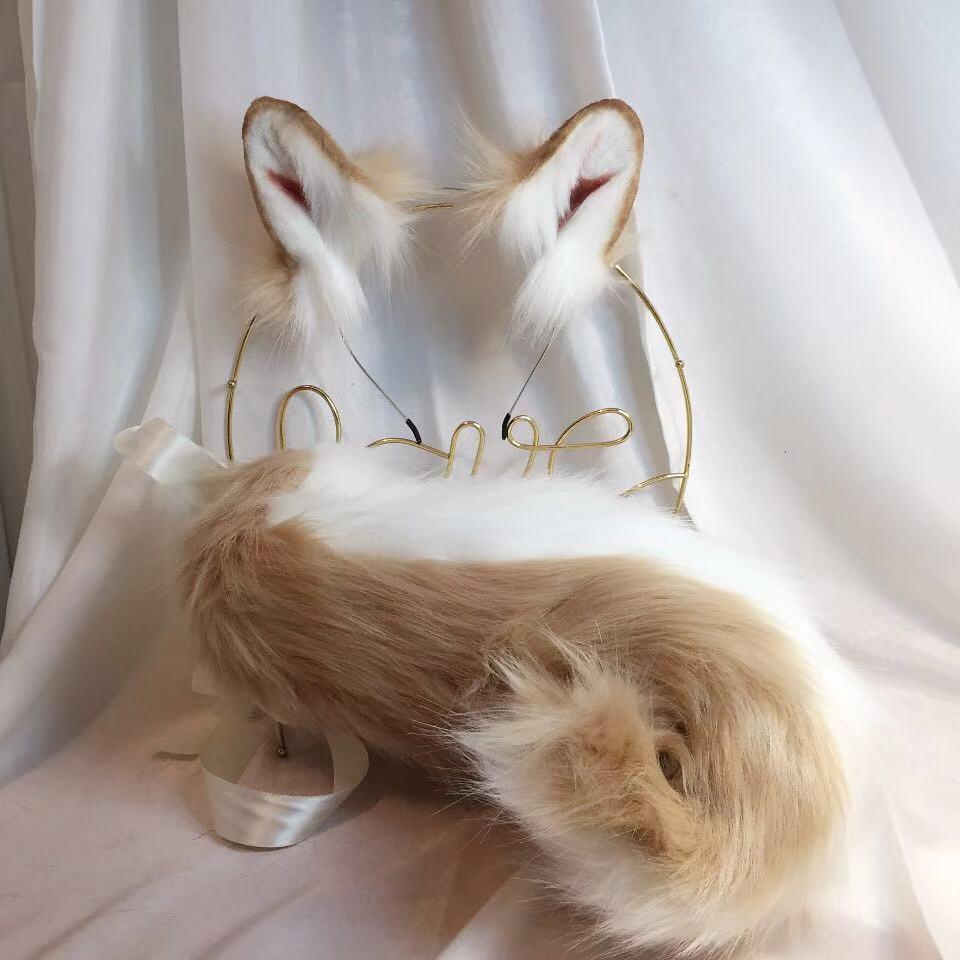 New Brown Shiba Inu Anime Simulation Beast Ear Beast Tail Wolf Ear Cat Ear Fox Ear Hair Hoop Custom COSPLA