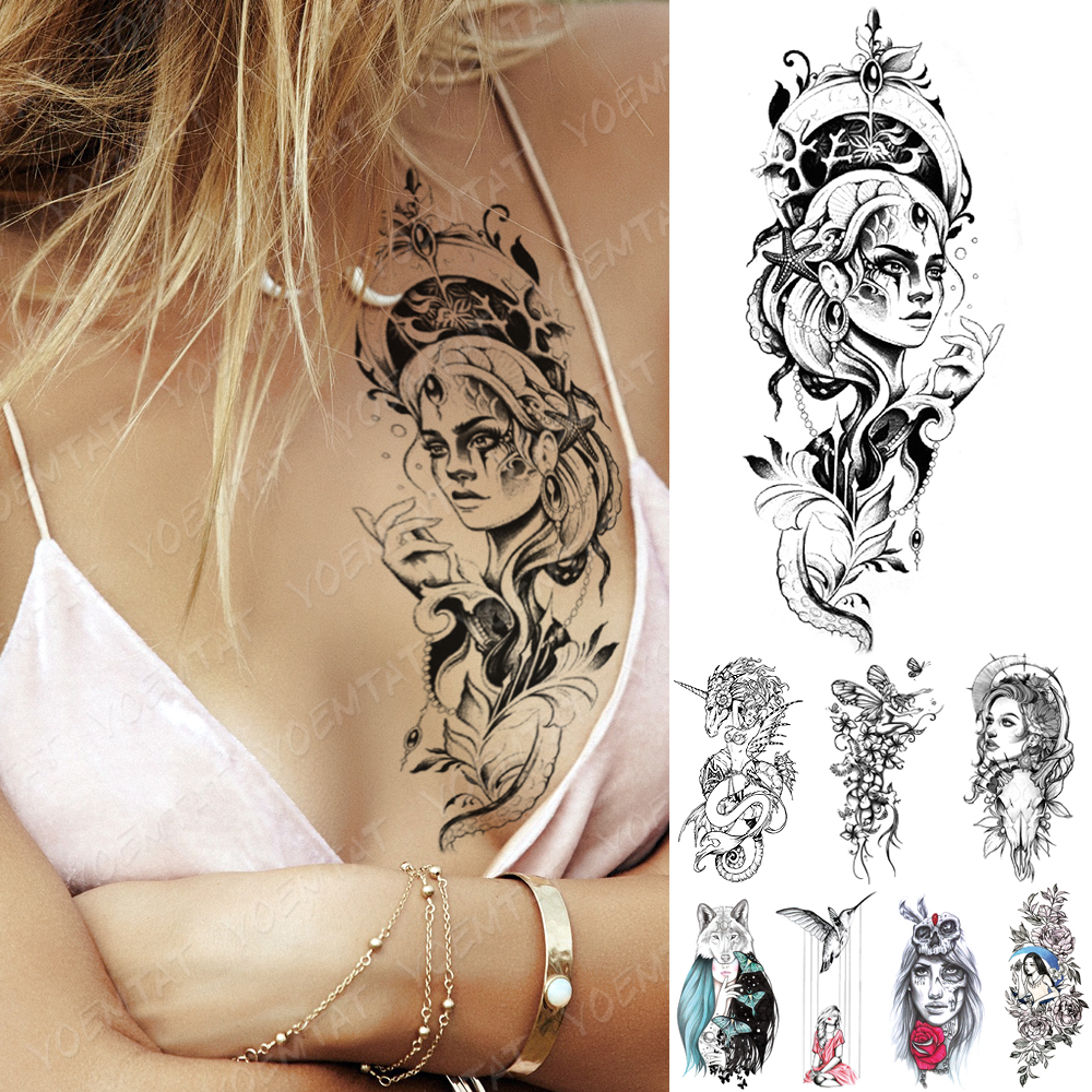 Waterproof Temporary Tattoo Sticker Mermaid Doll Girl Tattoos Butterfly Wolf Skull Body Art Arm Fake Sleeve Tatoo Women Men