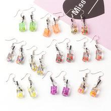 Fashionable Cute Milk Tea Fruit acrylic Earrings Sterling Women's Summer Sweet Earrings Wholesale