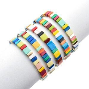 Image 3 - À la mode 5 pièce/ensemble émail or arc en ciel empilable Bracelet ensemble fait à la main bohème Bracelets Bracelets tuile manchette Bracelets ensemble livraison directe