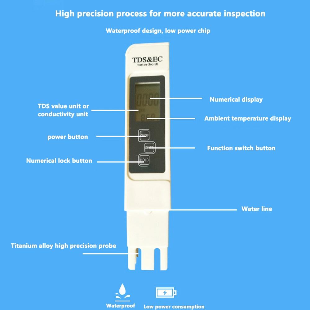 Medidor de Teste de Qualidade da Água Medidor de Condutividade Teste de Concentração de Fertilizantes Medidor de Teste Caneta Solução Nutritiva Hidropônica Tds ph ce