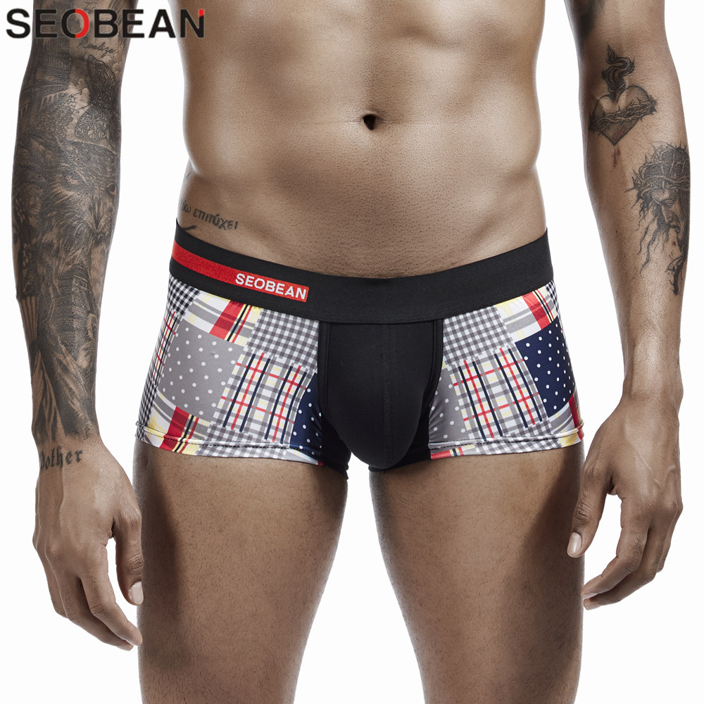 SEOBEAN Plaid Boxers Mens 2020 New Fashion Pattern Underpants Sexy Hombre Underwear Boxers For Man