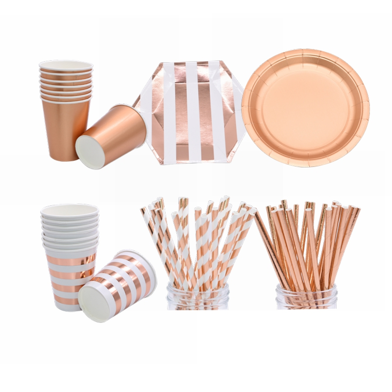 Rose Gold Party Decoration Disposable Tableware Paper Cup Plate Straws Kids Baby Shower Birthday Wedding Festival Party Supplies