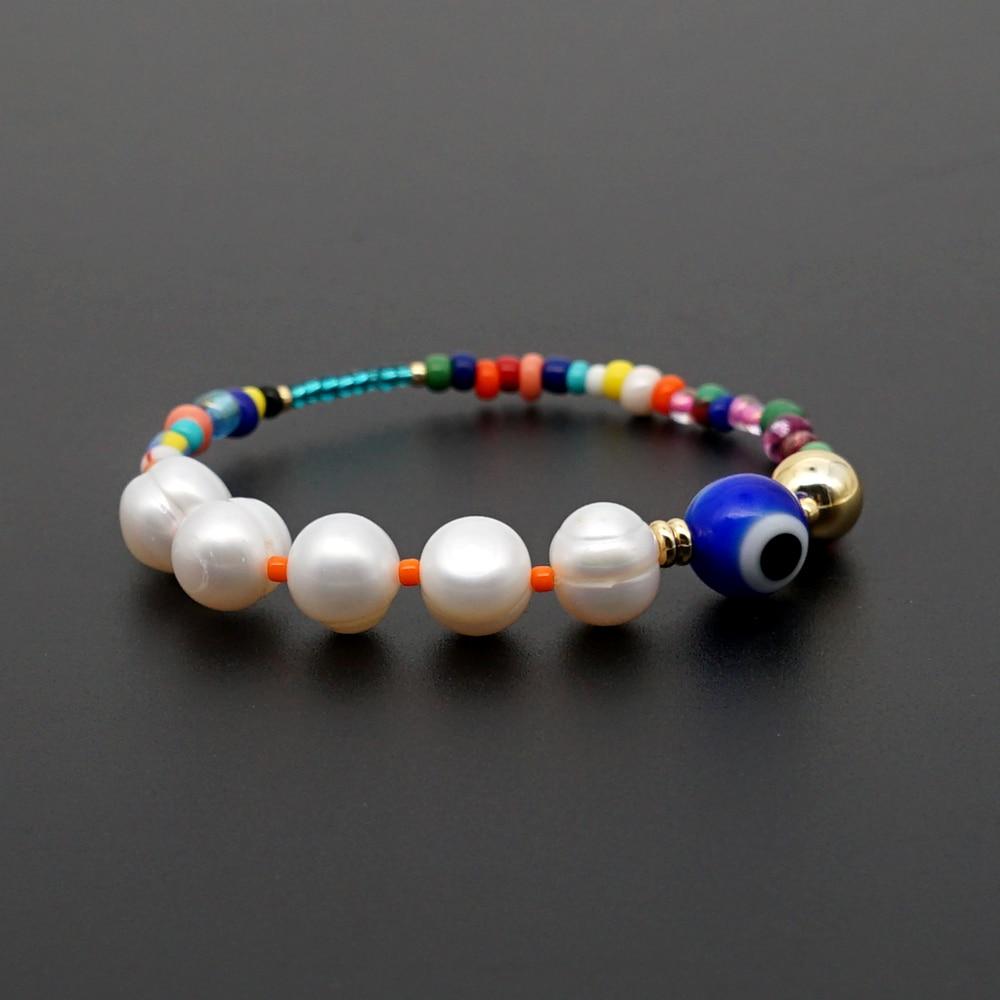 GO2BOHO Fresh Water Pearl Bracelet Femme Turkish Evil Eye Bracelets Women Gift Boho Summer Jewelry Pulseras Handmade Stretch