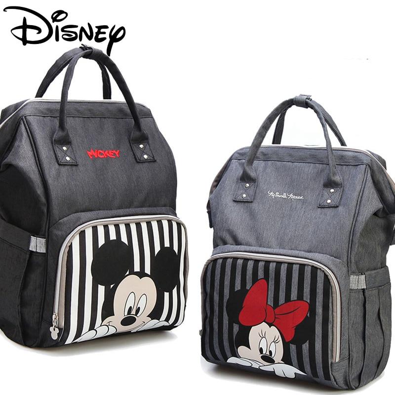 Disney Diaper Bag Bolsa Maternidade Waterproof Baby Stroller Bag USB Bottle Warmer Mummy Backpack Large Capacity Diaper Bag