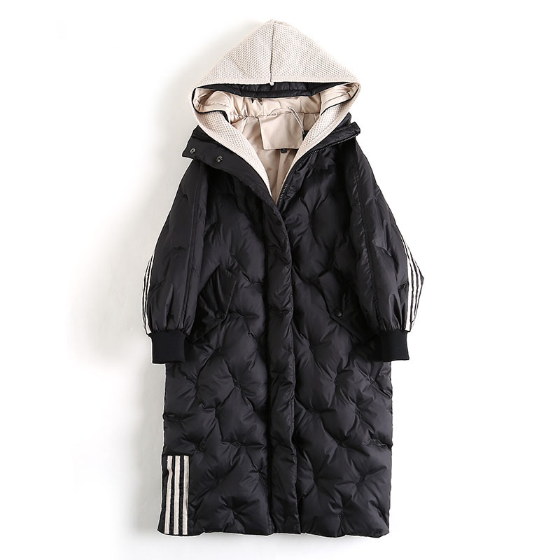 White Duck Down Jacket Female 2020 Winter New Plus Size Loose Long Section Korean Fashion Knitted Hat Fake Two Women Coats A36
