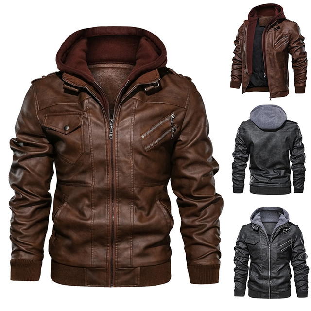 New Mens Outwear Bomber Vintage Autumn Black PU Leather Casual Jacket Slim Fit Motorcycle Biker Coats Removable Hood 1