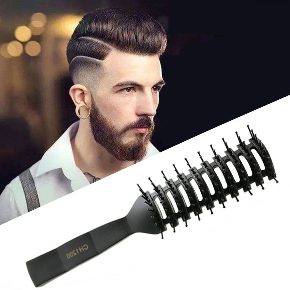 Wet/dry Use Anti-Static Hair Brush Hair Comb Small Curved Comb With Matte Texture Handle Massage Comb Styling Tools