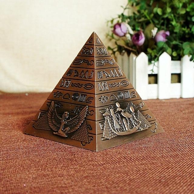 Egyptian Metal Pharaoh Khufu Pyramids Figurine Pyramid Building Statue Miniatures Home Office Desktop Decor Gift Souvenir 5