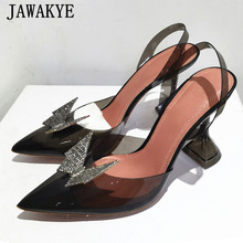 Women Sandals Heel Bride-Shoes Runway Rhinestone Party Butterfly Clear Deisgner Pointy