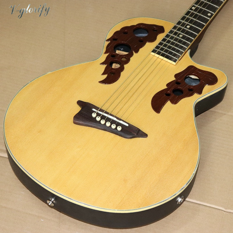 Stock Natural Color 38 Inch Round Back Electric Acoustic Guitar 6 String High Gloss Folk Guitar With EQ