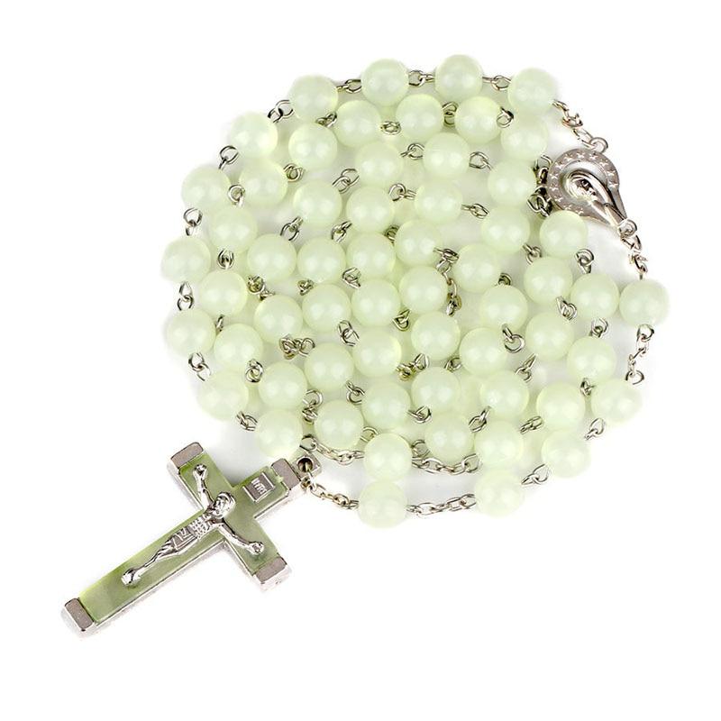 Купить религиозная люминесценция 8 мм четки крест изогнутая игла ожерелье