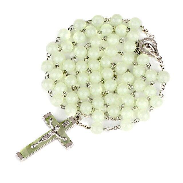 Купить религиозная люминесценция 8 мм четки крест изогнутая игла ожерелье картинки цена