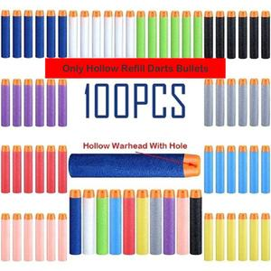 100pcs Darts For Nerf Bullets EVA Soft Hollow Hole Head 7.2cm Refill Bullet Darts for Nerf Toy Gun Accessories for Nerf Blasters