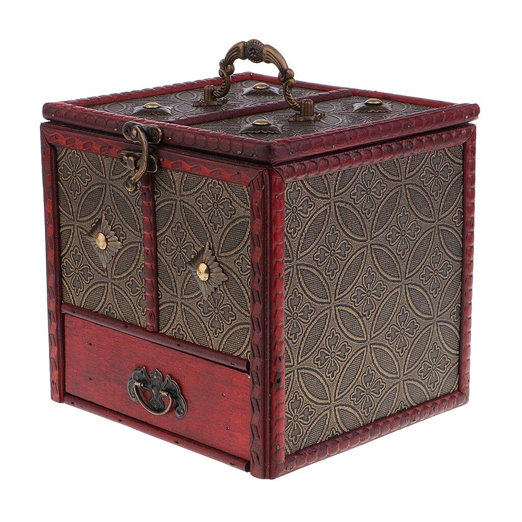 Antique Jewelry Box Woman Girls Jewelry Display Organizer Mirror Storage Box