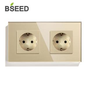 Image 3 - Bseed Dubbele Socket Eu Standaard Stopcontact Wit Zwart Gloden Crystal Glass Panel 157mm16A 110V 250V