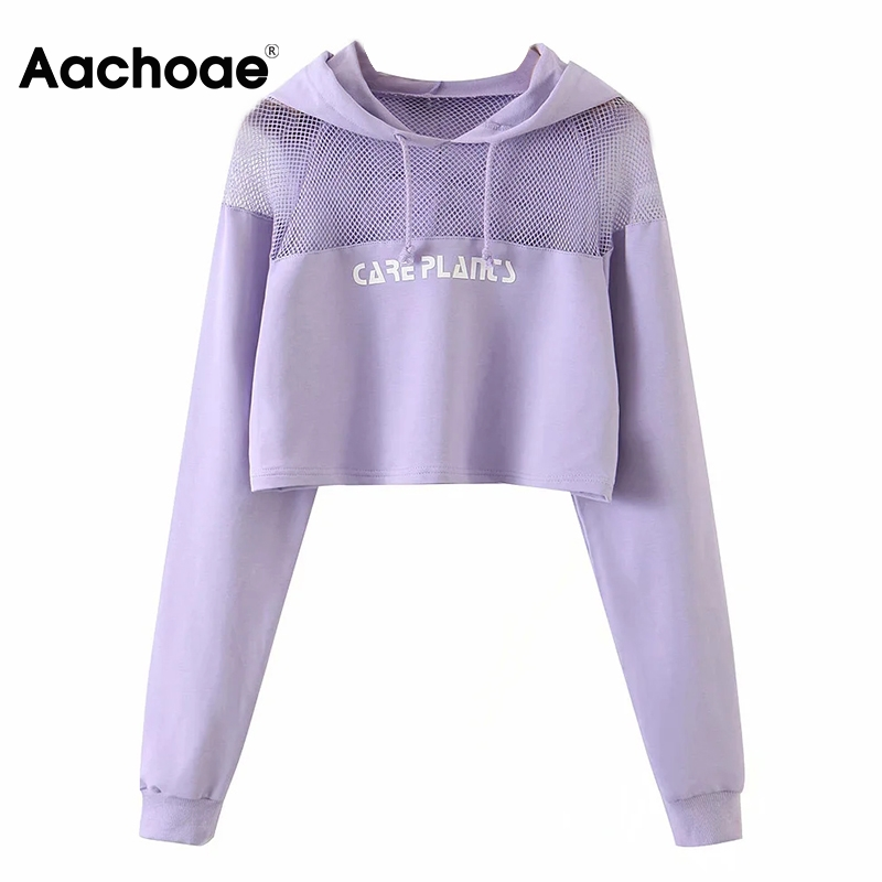 Aachoae Women Fashion Mesh Patchwork Cropped Hoodies Long Sleeve Sport Purple Hooded Sweatshirt Letter Print Casual Pullover Top 1