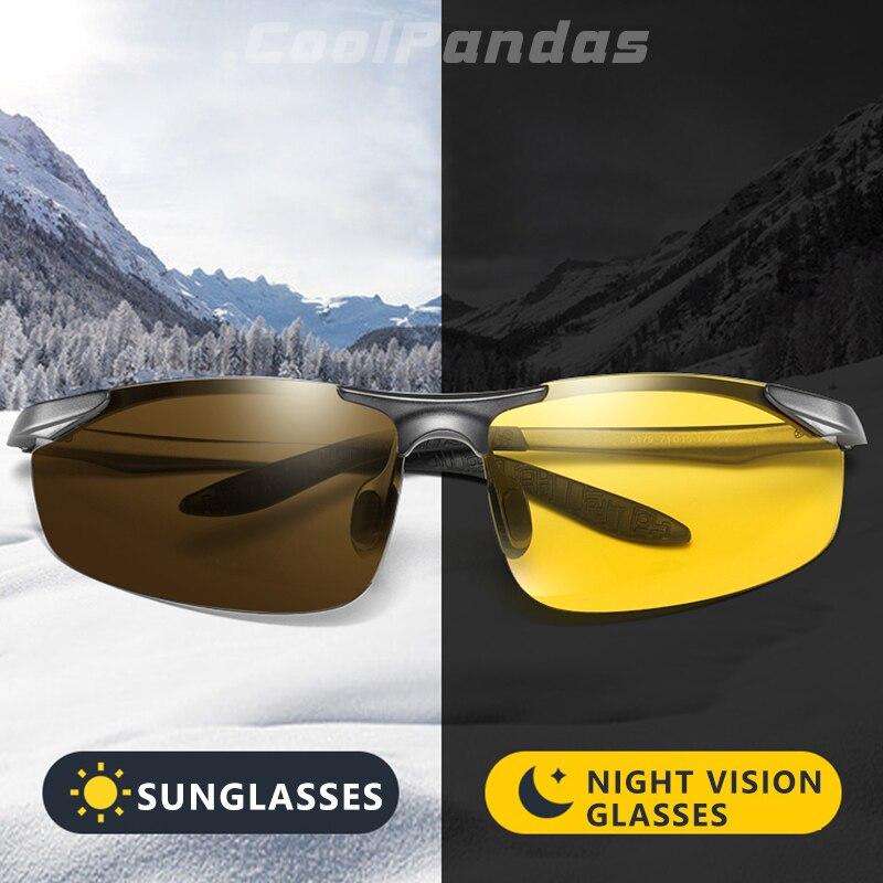 CoolPandas Alumínio Photochromic Polarizada Óculos De Sol Dos Homens Óculos de Condução Mulheres Dia Noite Motorista Óculos Oculos de sol Masculino